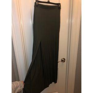 Olive Green Maxi Slit Skirt